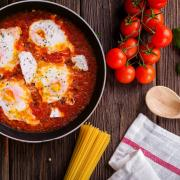 Eggs Poached in Tomato Basil Sauce